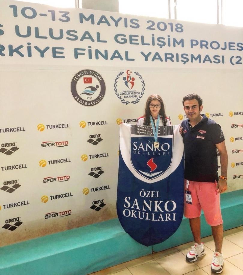 SANKO okulları yüzücüsü Beril Öztürk Türkiye ikincisi oldu
