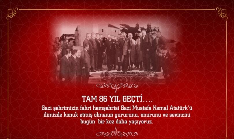 Valimiz Mustafa Kemal Atatürk'ün Gaziantep'e Gelişinin 86. Yıl Dönümünü Kutladı